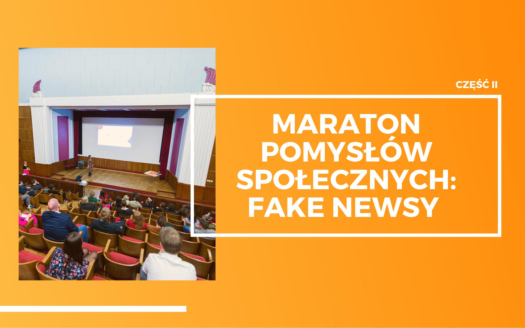 Sala wykładowa podczas prelekcji w trakcie wydarzenia Maraton Pomysłów Społecznych: Fake news