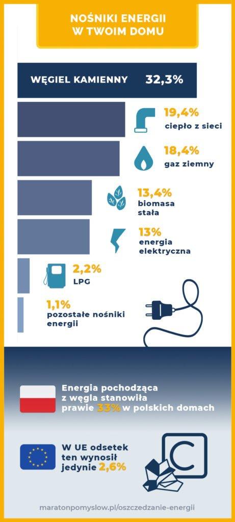 Infografika przedstawiająca nośniki energii elektrycznej w polskich gospodarstwach domowych w 2019 roku.  Na pierwszej pozycji węgiel kamienny z 32,3%,